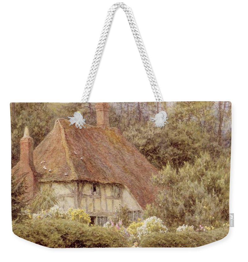Mother And Child; Gate; Rural Scene; Country; Countryside; Home; House; Path; Garden; Wildflowers; Picturesque; Idyllic; Daughter; Timber Frame; Half-timbered; Children; Female Weekender Tote Bag featuring the painting A Cottage Near Haslemere by Helen Allingham