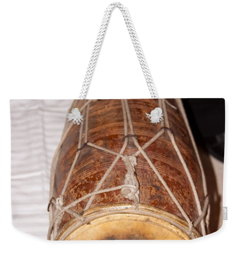 Music Weekender Tote Bag featuring the photograph A Dholak Which Is A Musical Instrument by Ashish Agarwal