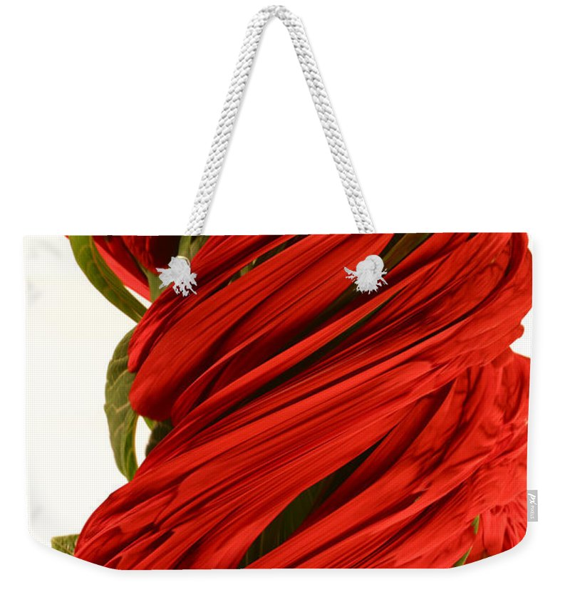 Flower Weekender Tote Bag featuring the photograph A Digital Streak Image Of A Pointsetta by Ted Kinsman