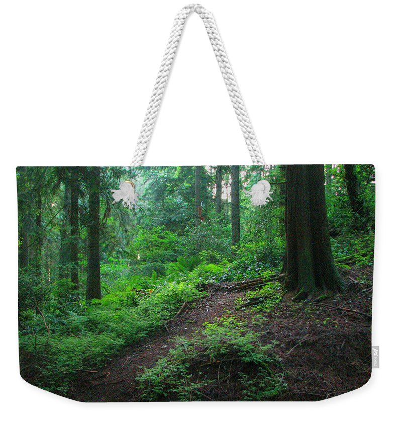 Woods Weekender Tote Bag featuring the photograph A Forest Green by Kathleen Grace