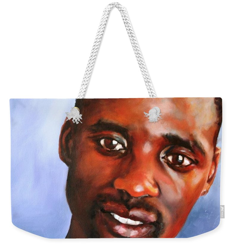 Male Portrait Weekender Tote Bag featuring the painting A Gentle Man by Jolante Hesse