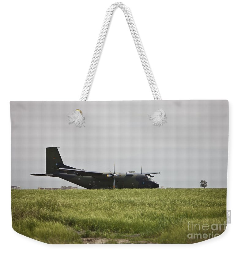 Propeller Weekender Tote Bag featuring the photograph A German Air Force Transall C-160 Taxis by Terry Moore
