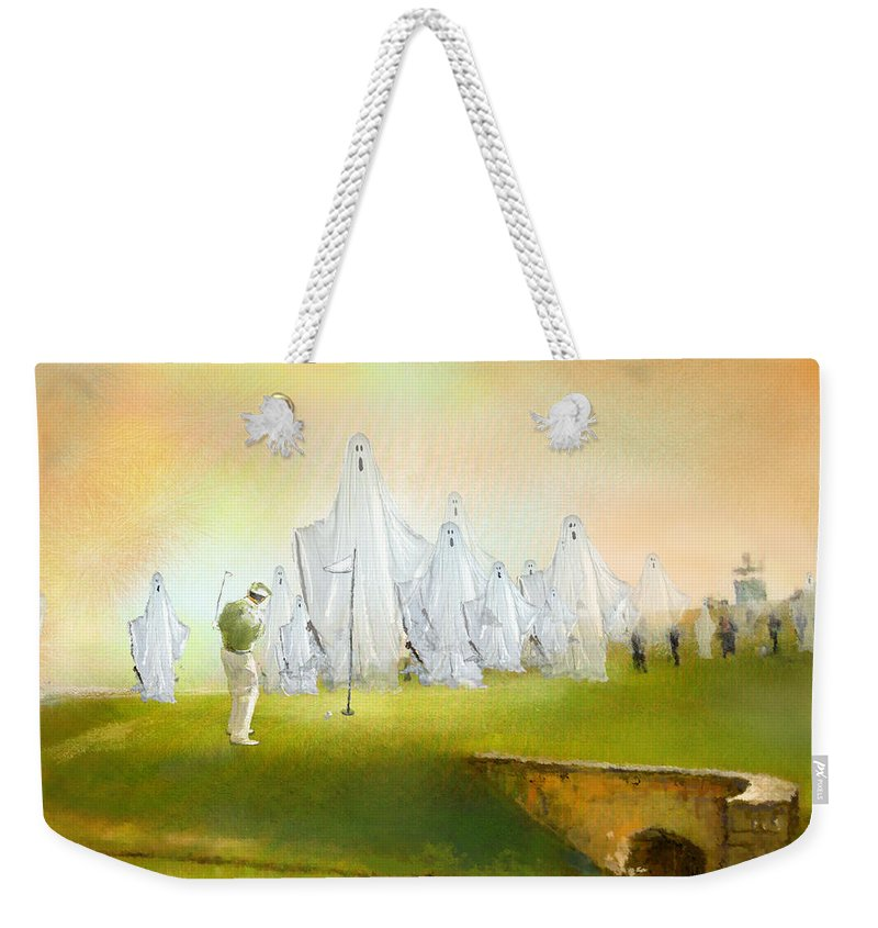 Fun Weekender Tote Bag featuring the painting A Ghost Of A Chance by Miki De Goodaboom