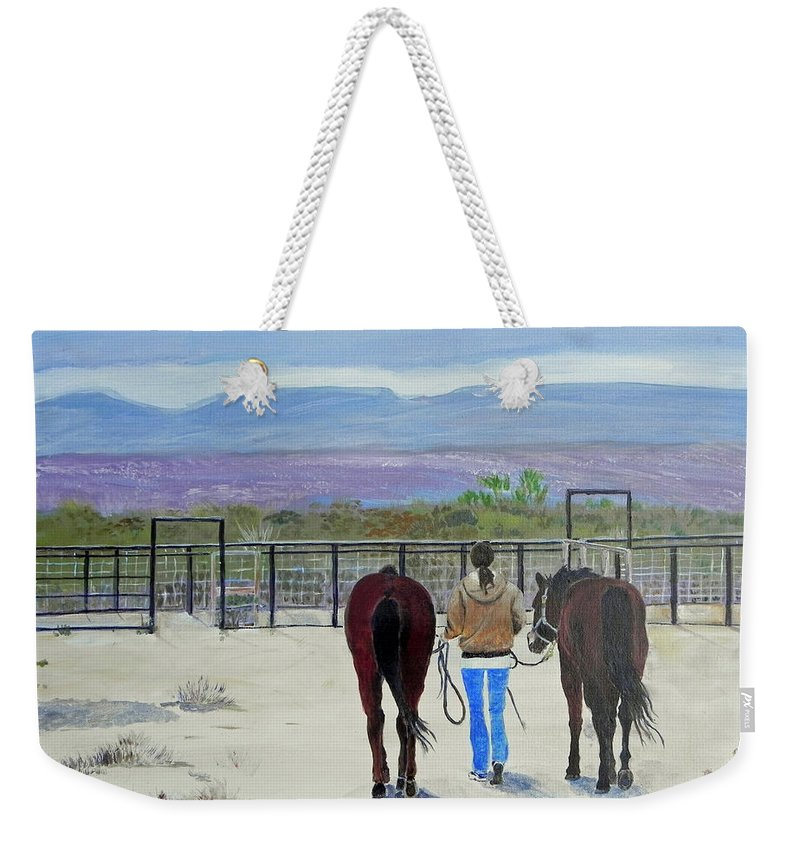 Horses Weekender Tote Bag featuring the painting Texas - A Good Ride by Christine Lathrop