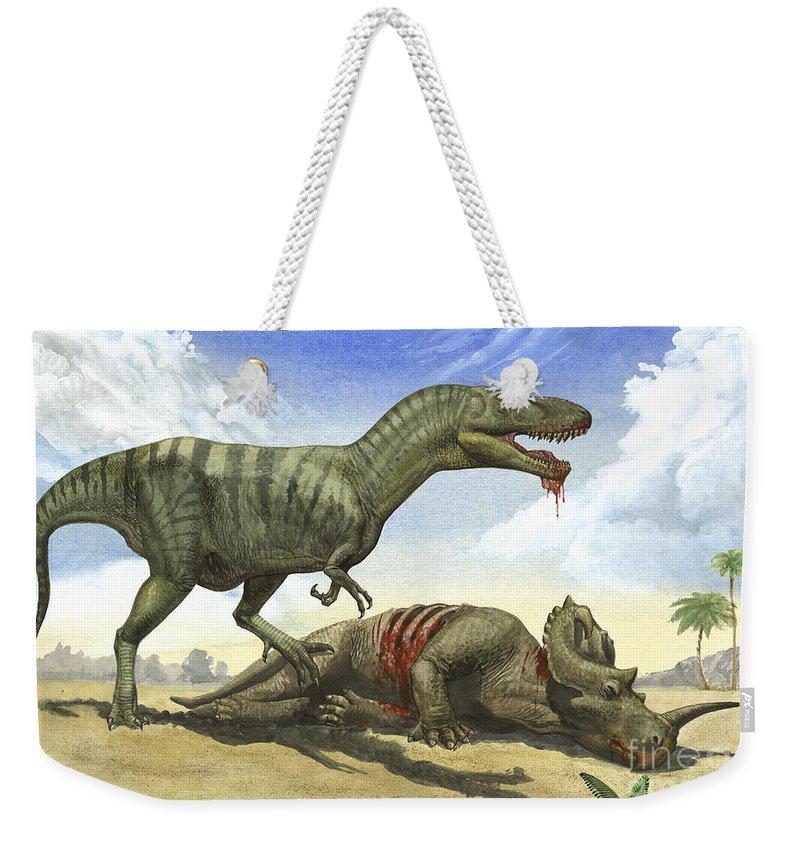Horizontal Weekender Tote Bag featuring the digital art A Gorgosaurus Libratus Stands by Sergey Krasovskiy