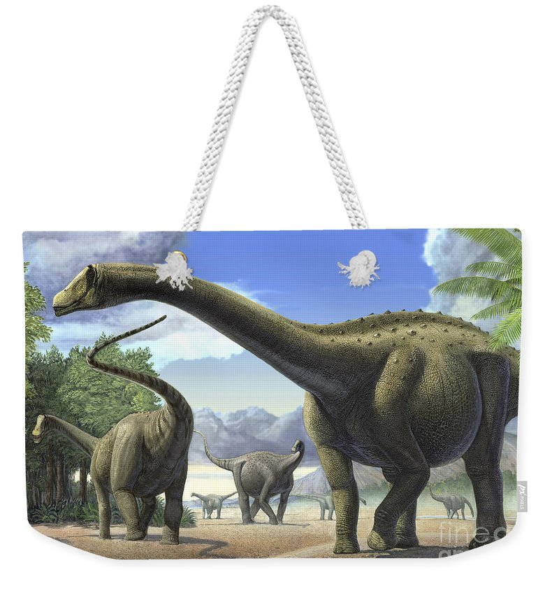 No People Weekender Tote Bag featuring the digital art A Group Of Tapuiasaurus Macedoi by Sergey Krasovskiy