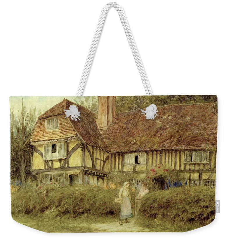 A Kentish Cottage Weekender Tote Bag featuring the painting A Kentish Cottage by Helen Allingham