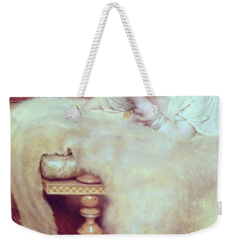 Listener Weekender Tote Bag featuring the painting A Listener - The Bear Rug by Sir Lawrence Alma-Tadema