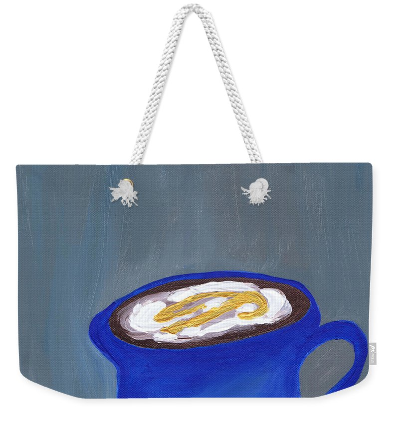 Blue Weekender Tote Bag featuring the painting A Little Blue by Beth Cornell