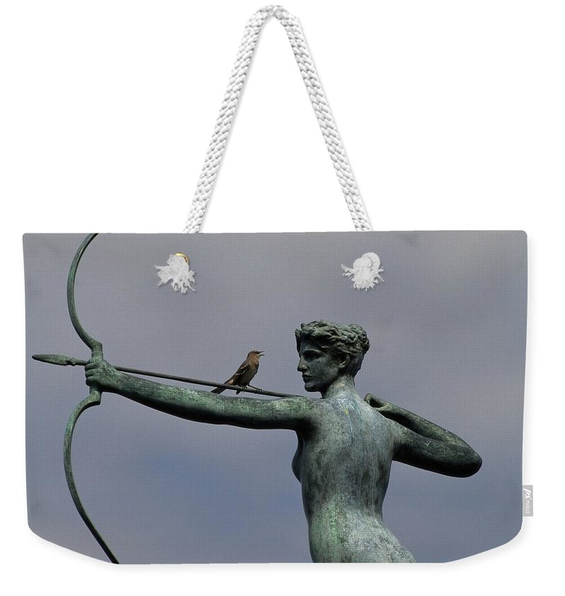 Brookgreen Gardens Weekender Tote Bag featuring the photograph A Mockingbird Sits Atop A Bronze by Raymond Gehman