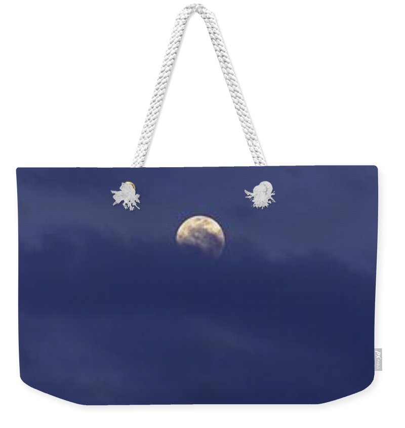 Landscape Weekender Tote Bag featuring the photograph A Moon Shot by Anthony Walker Sr