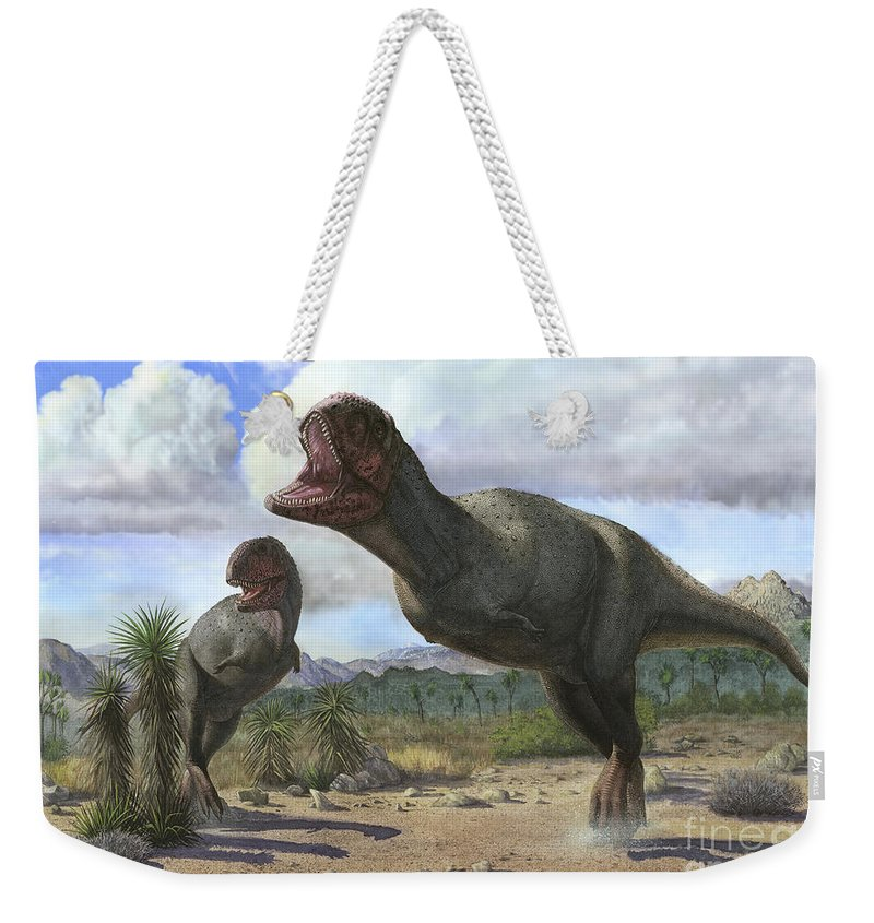 No People Weekender Tote Bag featuring the digital art A Pair Of Pycnonemosaurus Nevesi by Sergey Krasovskiy