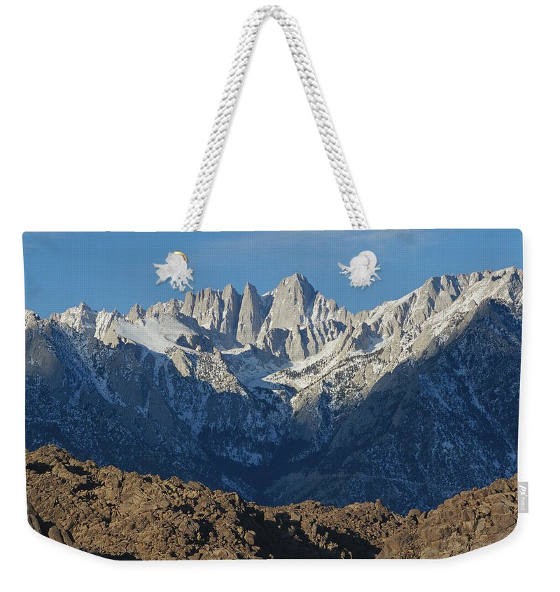 Scenes And Views Weekender Tote Bag featuring the photograph A Panoramic View Of Mount Whitney by Marc Moritsch