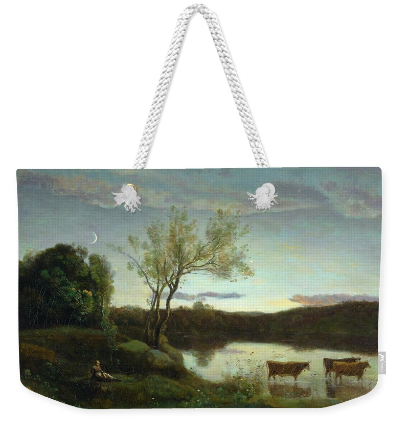 Pond Weekender Tote Bag featuring the painting A Pond With Three Cows And A Crescent Moon by Jean Baptiste Camille Corot