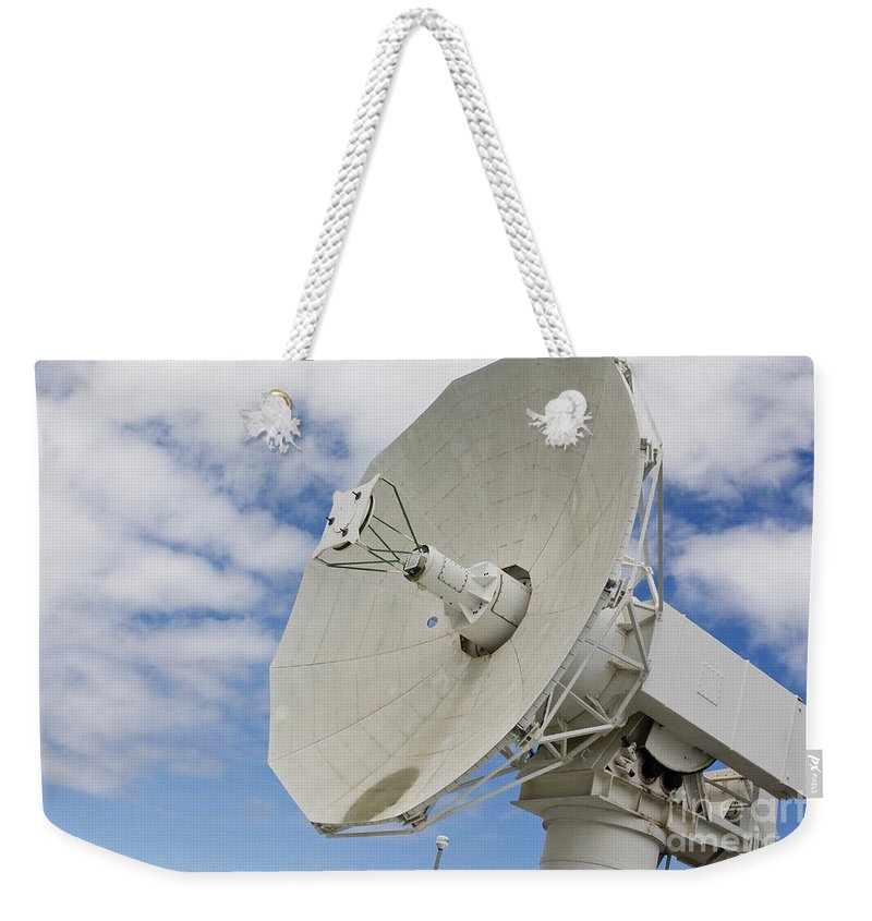 Pearl Harbor Weekender Tote Bag featuring the photograph A Radar Dish Aboard Mobile At-sea by Stocktrek Images