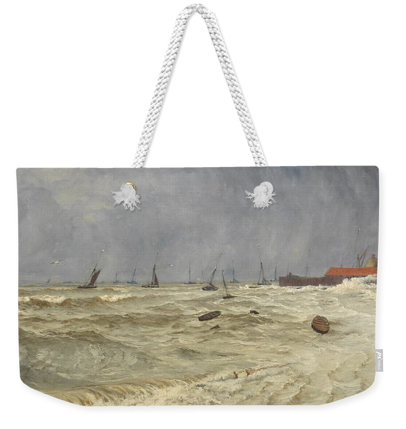 Seascape Weekender Tote Bag featuring the painting A Rough Day At Leigh by William Pye