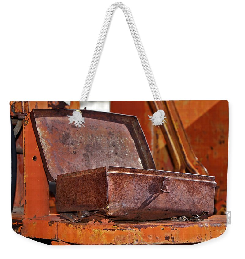 Toolbox Weekender Tote Bag featuring the photograph A Rusy Toolbox by Phyllis Denton