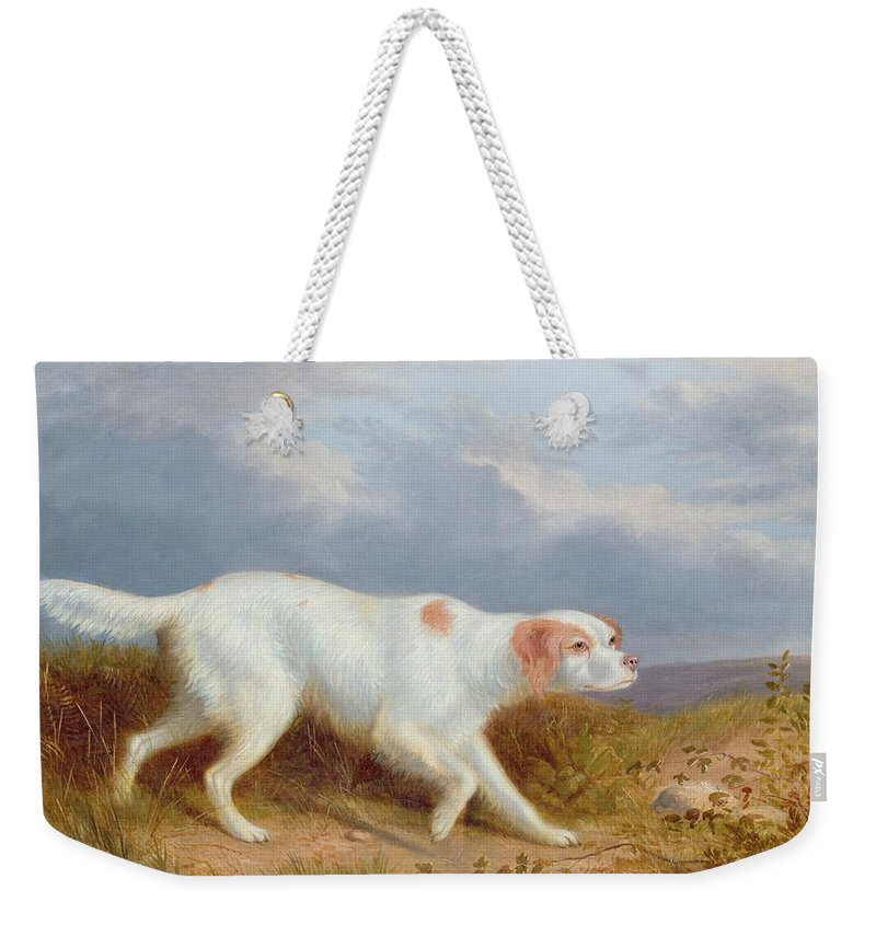A Setter On The Moor Weekender Tote Bag featuring the painting A Setter On The Moor by Philip Reinagle