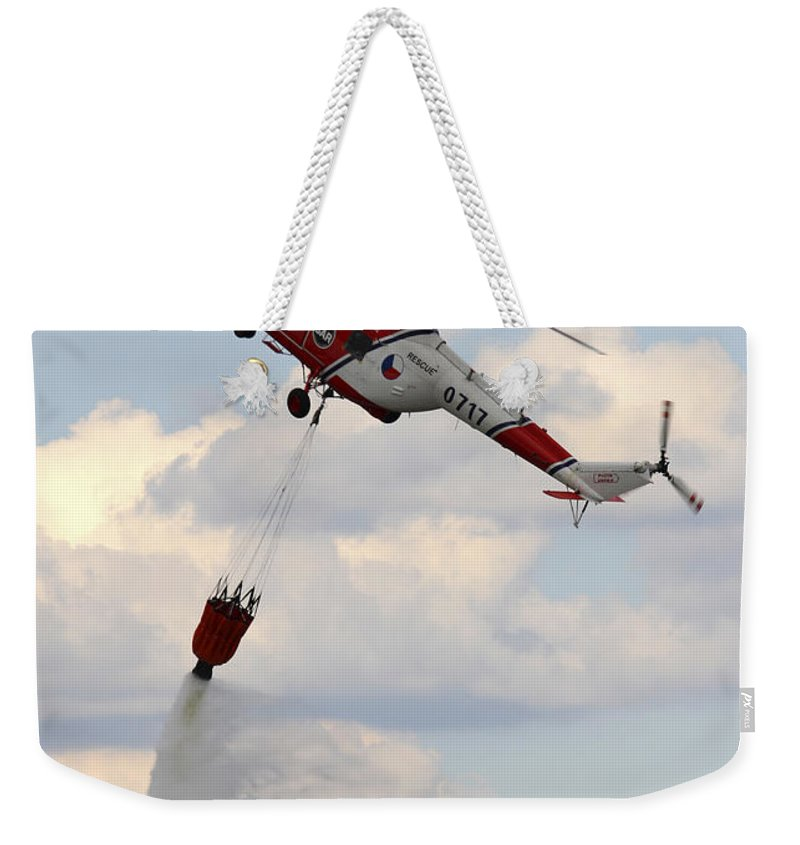 Vertical Weekender Tote Bag featuring the photograph A Sokol W-3a Helicopter Of The Czech by Timm Ziegenthaler