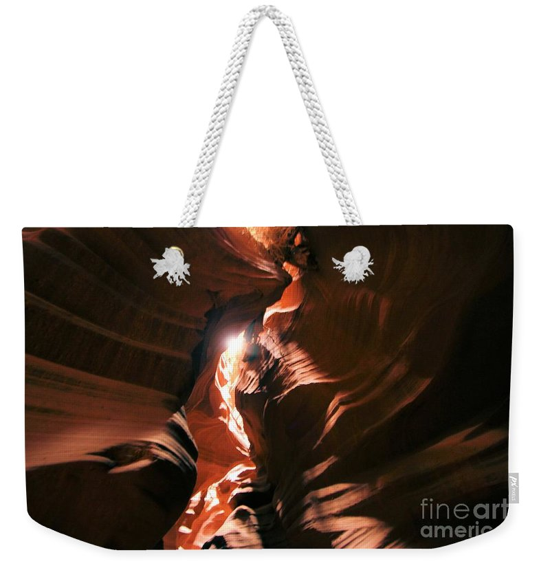 Antelope Canyon Weekender Tote Bag featuring the photograph A Splash Of Light by Adam Jewell