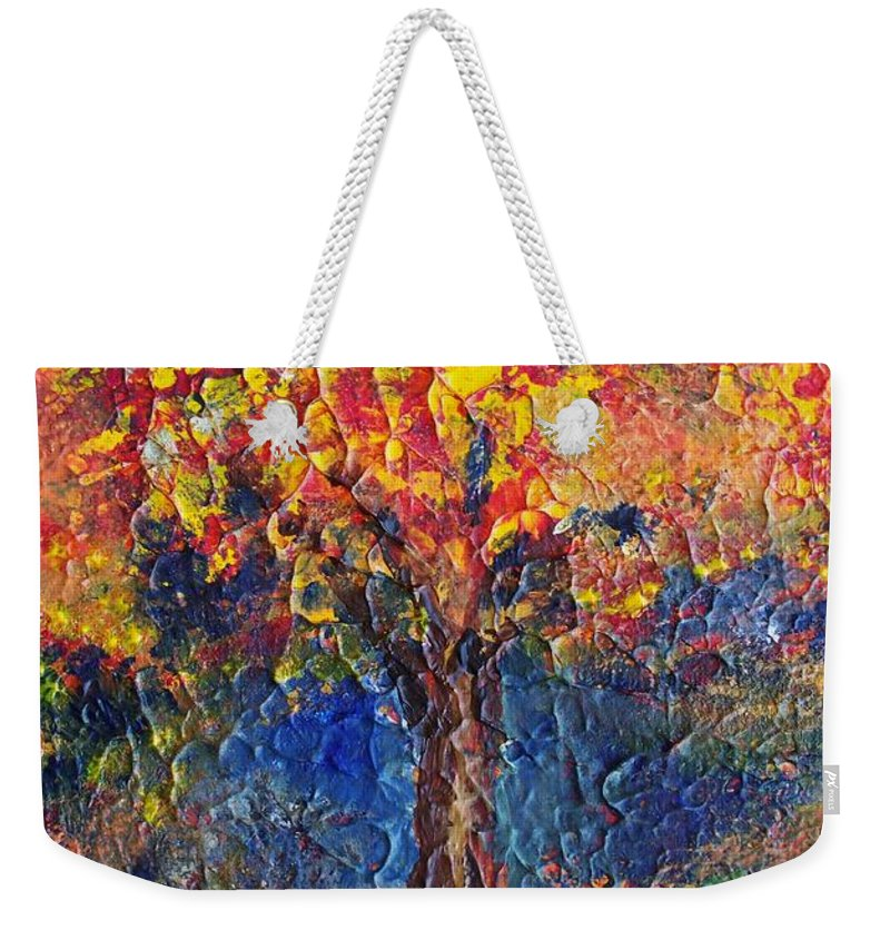 Acrylic On 5 X 7 Inch Stretched Canvas Weekender Tote Bag featuring the painting A Tree Grows Here by Robin Monroe