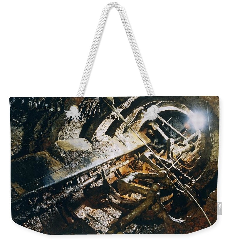 Boats Weekender Tote Bag featuring the photograph A View Of The Corroded Interior by Ira Block