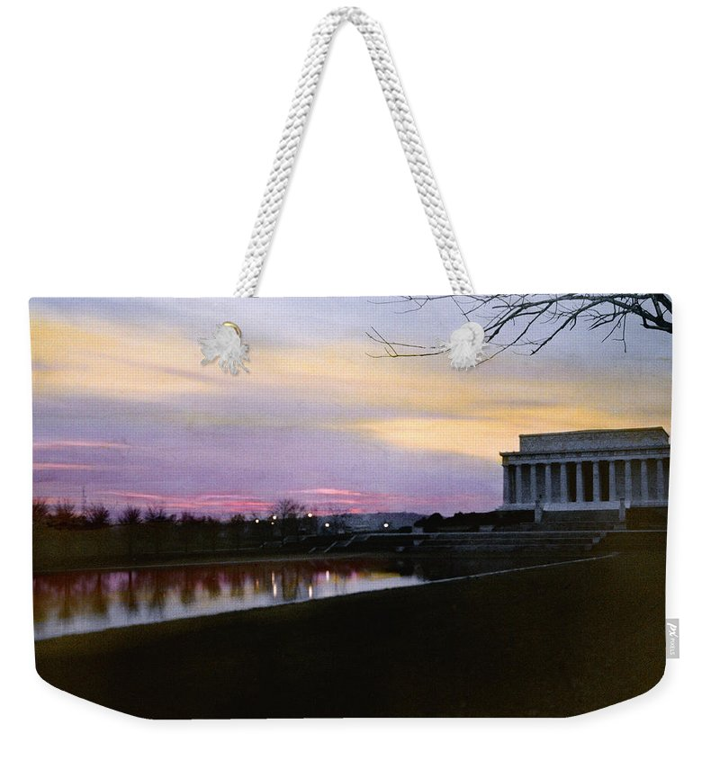 Twilight Weekender Tote Bag featuring the photograph A View Of The Lincoln Memorial by Charles Martin