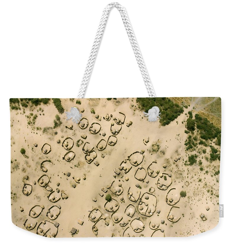 Landscape Weekender Tote Bag featuring the photograph A Village On The Shores Of Lake Chad by Michael Fay