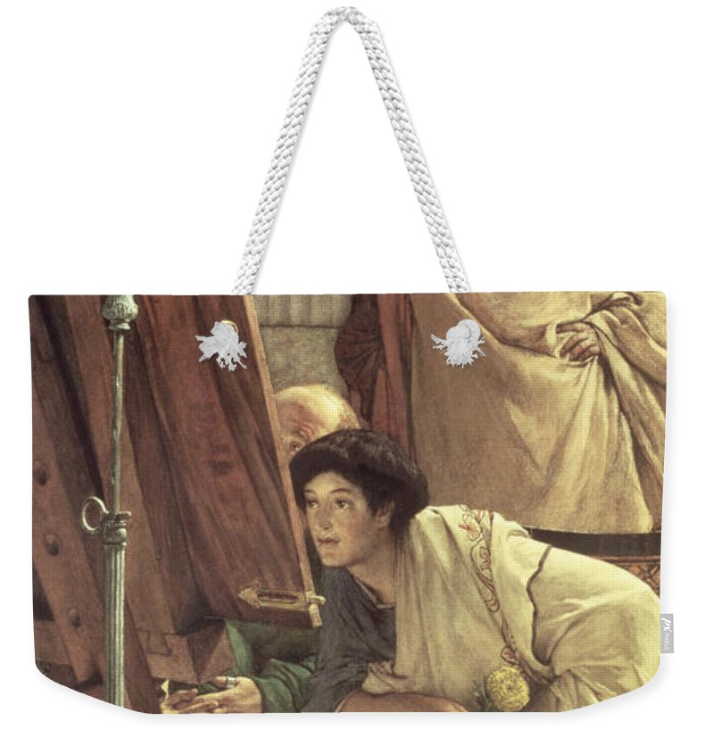 Visit Weekender Tote Bag featuring the painting A Visit To The Studio by Sir Lawrence Alma-Tadema