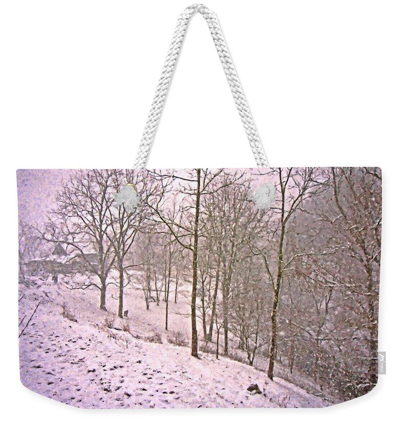 Virginia Weekender Tote Bag featuring the digital art A Walk In The Snow by Betsy Knapp