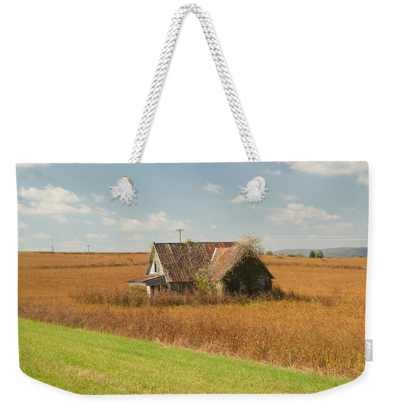 Nostalgia Weekender Tote Bag featuring the photograph Abandoned Farmhouse In Field 2 by Douglas Barnett