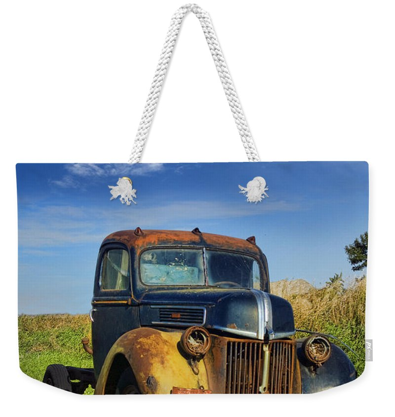 Truck Weekender Tote Bag featuring the photograph Abandoned Rusty Truck by Jill Battaglia