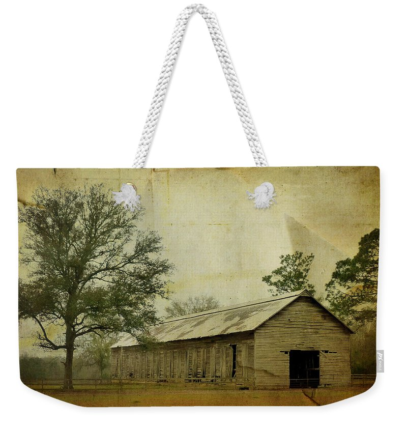 Old Weekender Tote Bag featuring the photograph Abandoned Tobacco Barn by Carla Parris