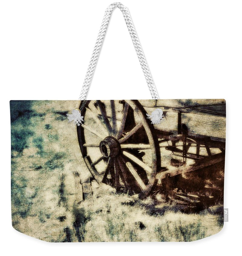 Wagon Weekender Tote Bag featuring the photograph Abandoned Wagon By Old Ghost Town. by Jill Battaglia