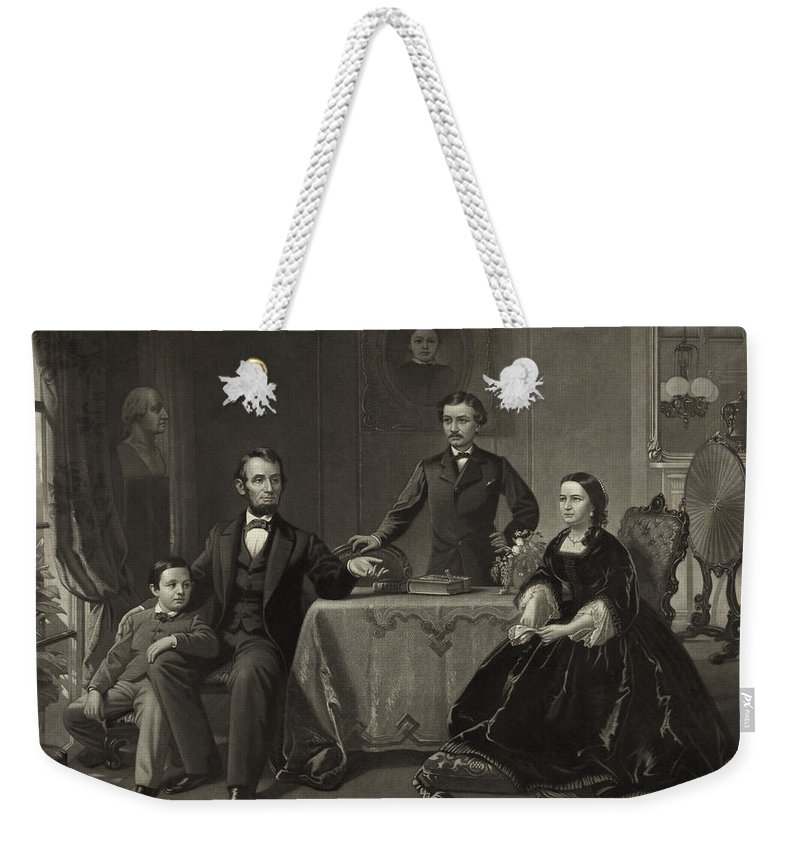 abraham Lincoln Weekender Tote Bag featuring the photograph Abraham Lincoln And Family by International Images