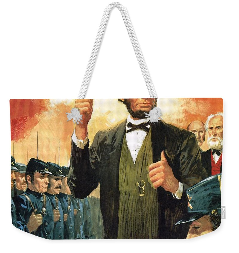 Abraham Lincoln Weekender Tote Bag featuring the painting Abraham Lincoln by English School