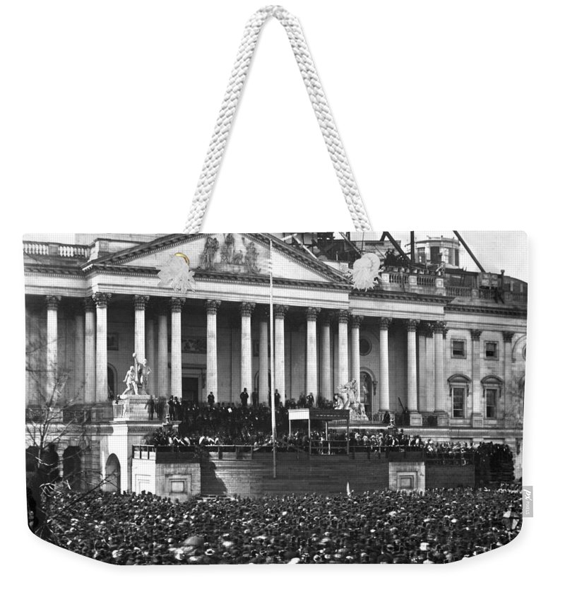 abraham Lincoln Weekender Tote Bag featuring the photograph Abraham Lincolns First Inauguration - March 4 1861 by International Images