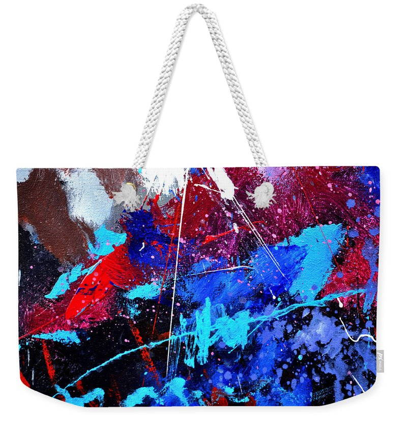 Abstract Weekender Tote Bag featuring the painting Abstract 71001 by Pol Ledent