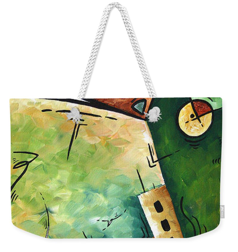 Abstract Weekender Tote Bag featuring the painting Abstract Martini Cityscape Contemporary Original Painting Martini Hour By Madart by Megan Duncanson