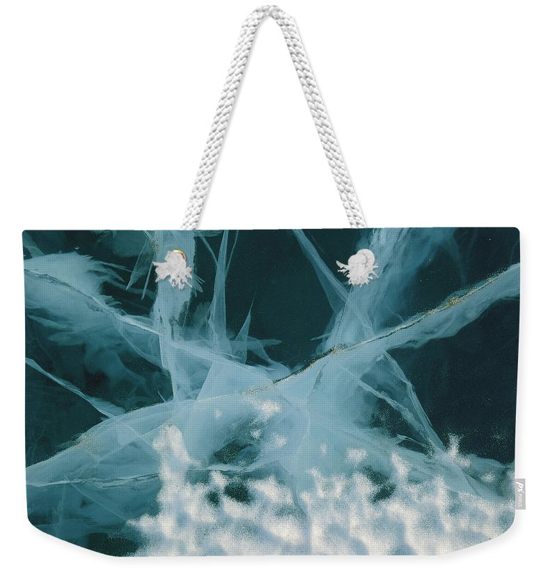Hhh Weekender Tote Bag featuring the photograph Abstract Of Marbled Ice, Antarctica by Colin Monteath