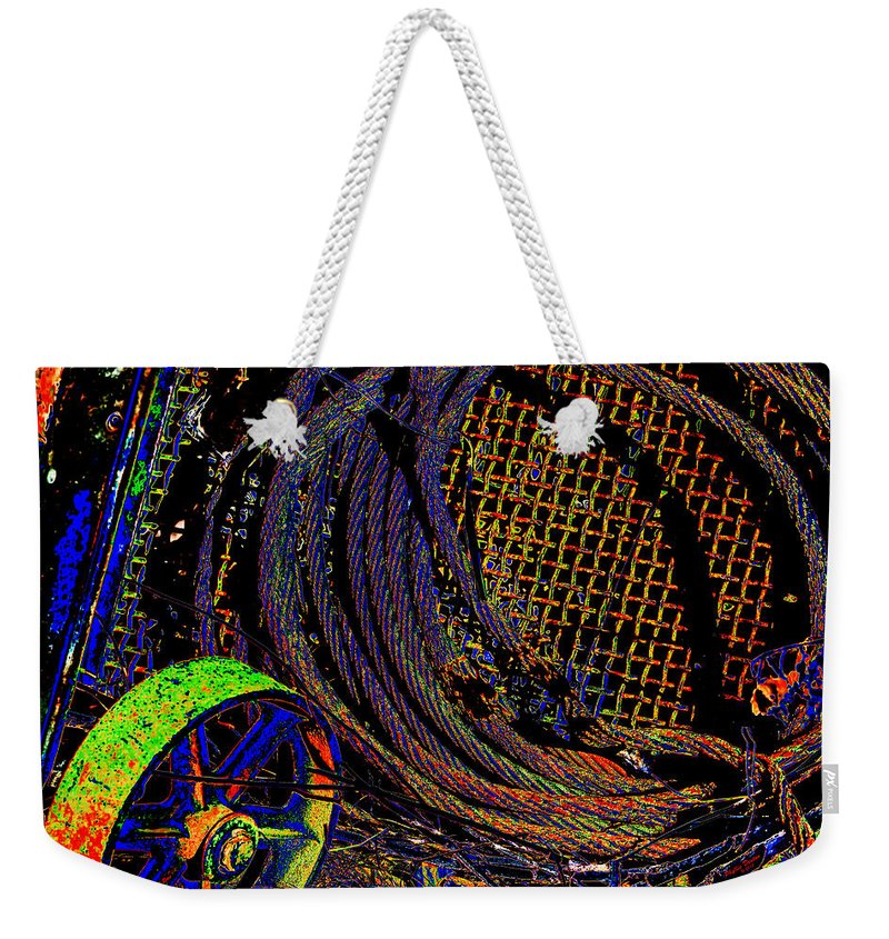 Wheel Weekender Tote Bag featuring the photograph Abstract Textures by Phyllis Denton
