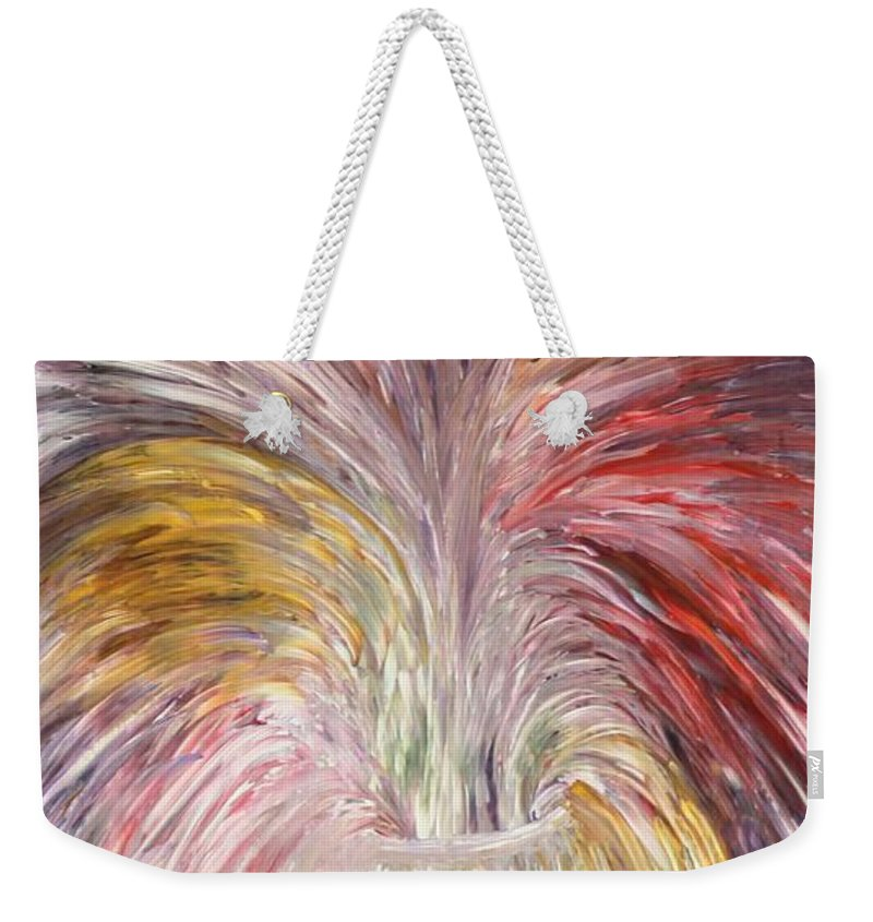 Abstract Stil Life Weekender Tote Bag featuring the painting Abstract Vase And Energy Mouvement by Georgeta Blanaru