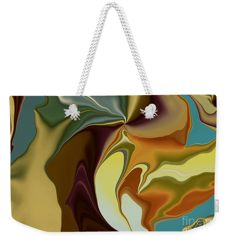 Abstract Weekender Tote Bag featuring the digital art Abstract With Mood by Deborah Benoit