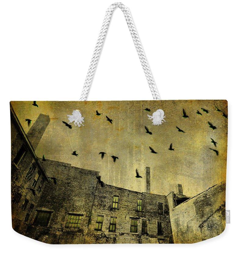 Urban Art Weekender Tote Bag featuring the digital art Industrial Acid Urban Sky by Gothicrow Images