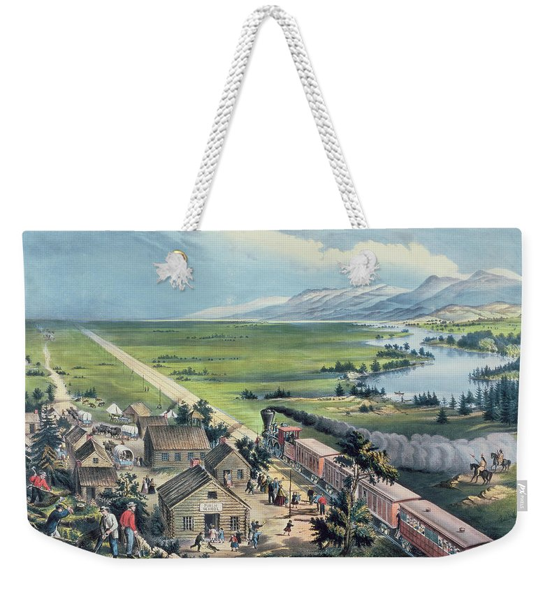 Across The Continent: 'westward The Course Of Empire Takes It's Way' Weekender Tote Bag featuring the painting Across The Continent by Currier and Ives