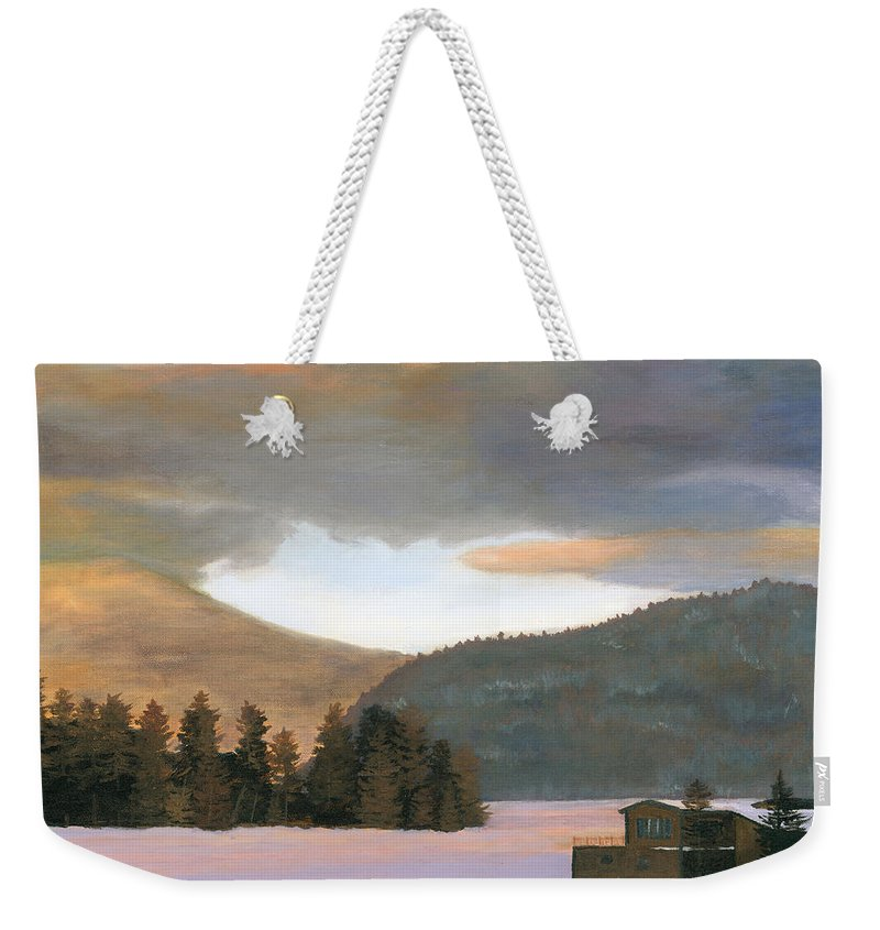 Landscape Weekender Tote Bag featuring the painting Adirondack Morning by Lynne Reichhart