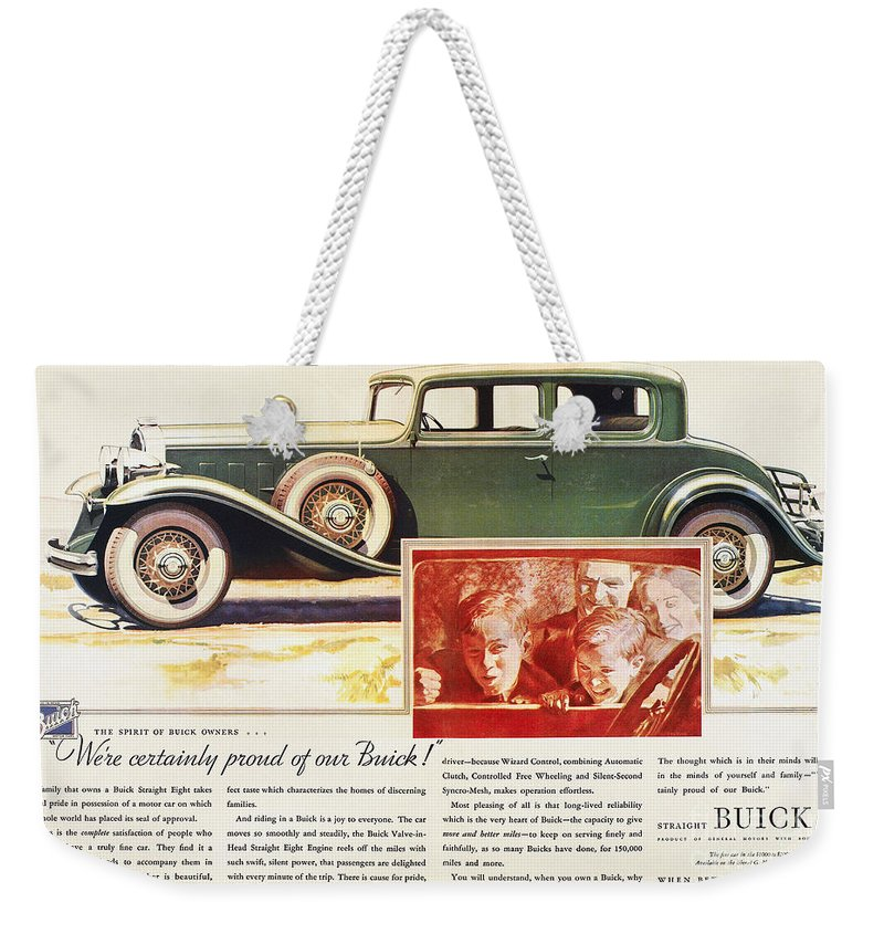 1932 Weekender Tote Bag featuring the photograph Ads: Buick, 1932 by Granger