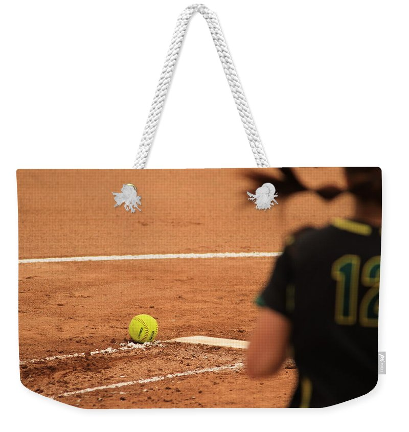 Black Weekender Tote Bag featuring the photograph Advancing Only To Stand Her Ground by Laddie Halupa