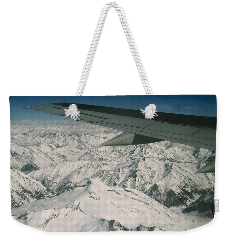 Color Image Weekender Tote Bag featuring the photograph Aerial View Of Himalaya From Plane En by Gordon Wiltsie