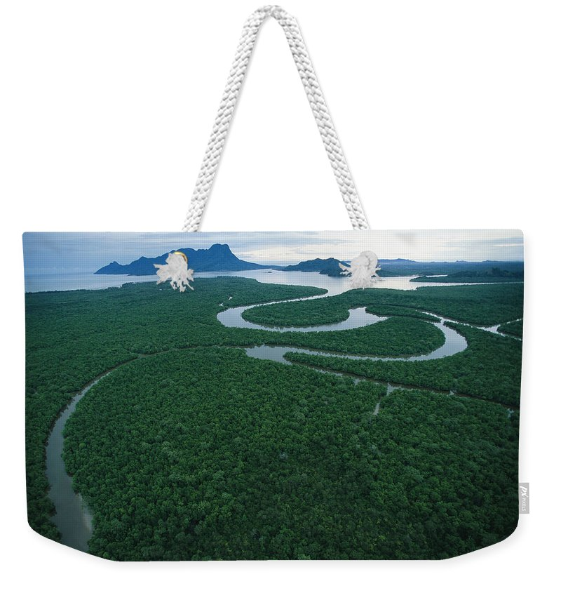 Asia Weekender Tote Bag featuring the photograph Aerial View Of The Salak River. Mount by Tim Laman